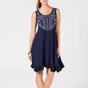 Blue Embroidered Front Ruffle-Hem Dress PXL